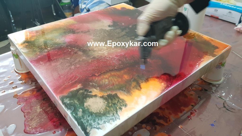 نقاشی آبستره با رزین اپوکسی - اپوکسی کار